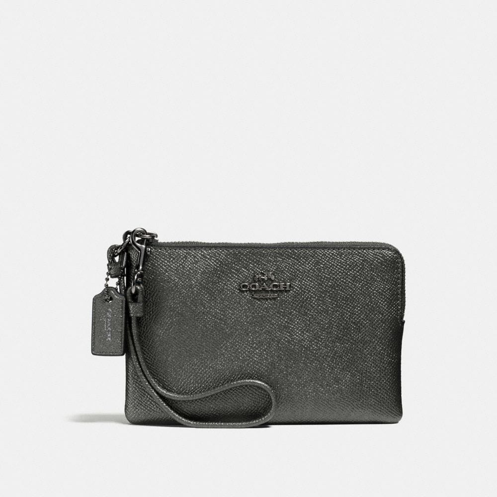 SMALL WRISTLET IN METALLIC CROSSGRAIN LEATHER