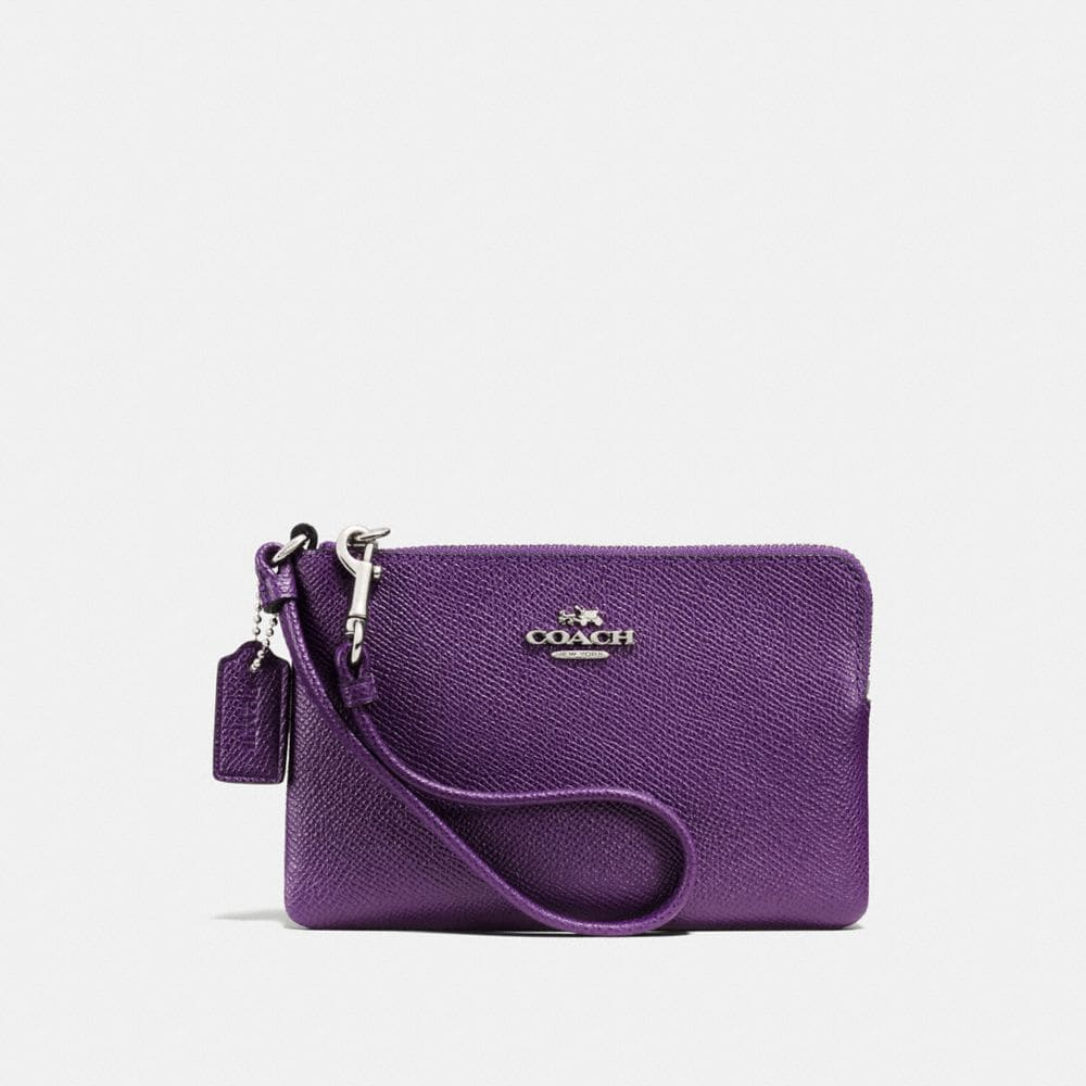 CORNER ZIP WRISTLET IN CROSSGRAIN LEATHER