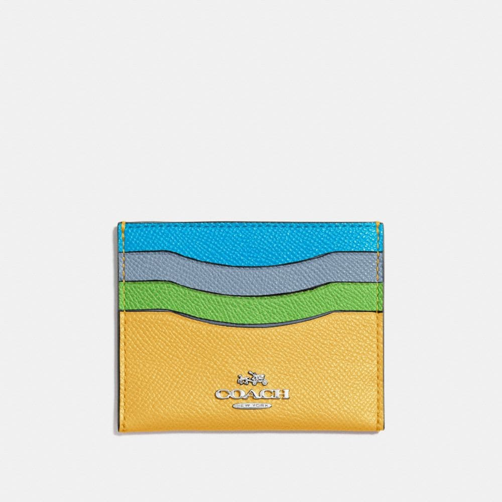 FLAT CARD CASE IN COLORBLOCK LEATHER
