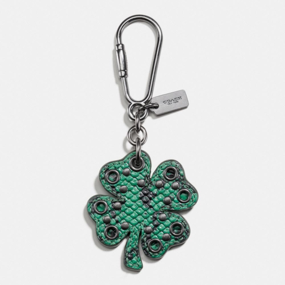 EXOTIC STUDDED CLOVER BAG CHARM