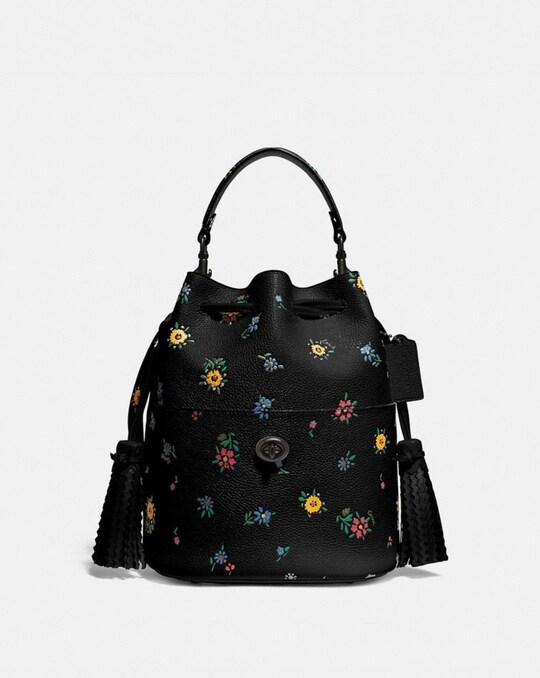LORA BUCKET BAG WITH WILDFLOWER PRINT