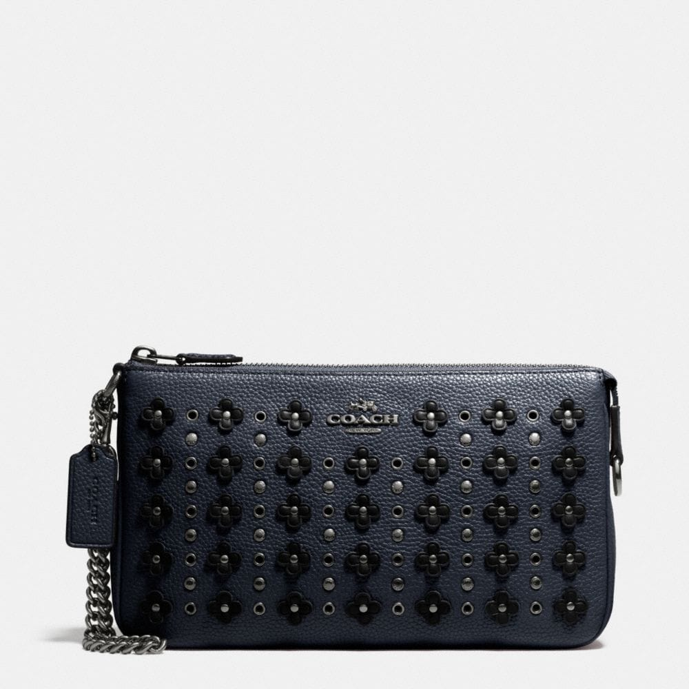 NOLITA WRISTLET 24 IN FLORAL RIVETS LEATHER