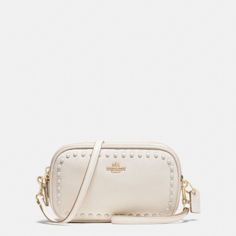 LACQUER RIVETS CROSSBODY CLUTCH IN PEBBLE LEATHER