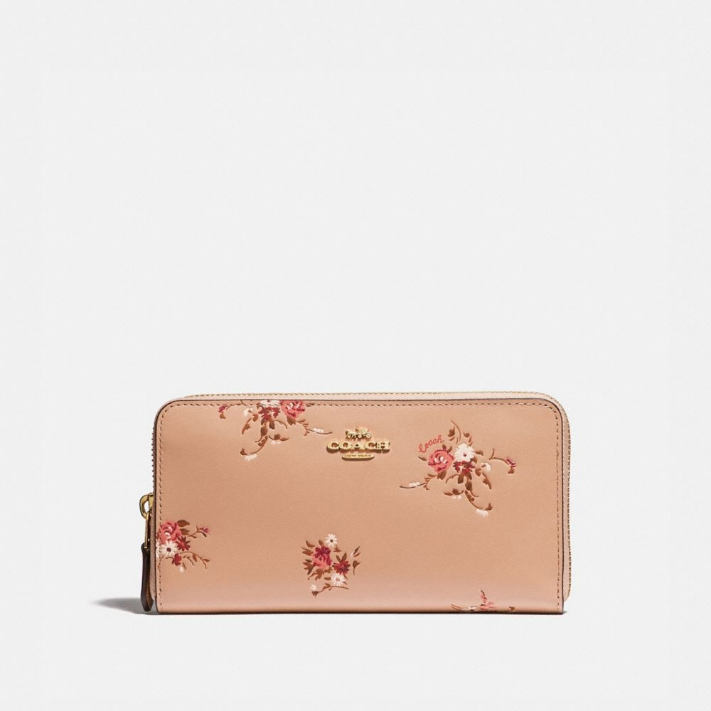 ACCORDION ZIP WALLET WITH FLORAL PRINT