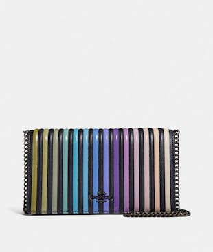 CALLIE FOLDOVER CHAIN CLUTCH WITH OMBRE QUILTING