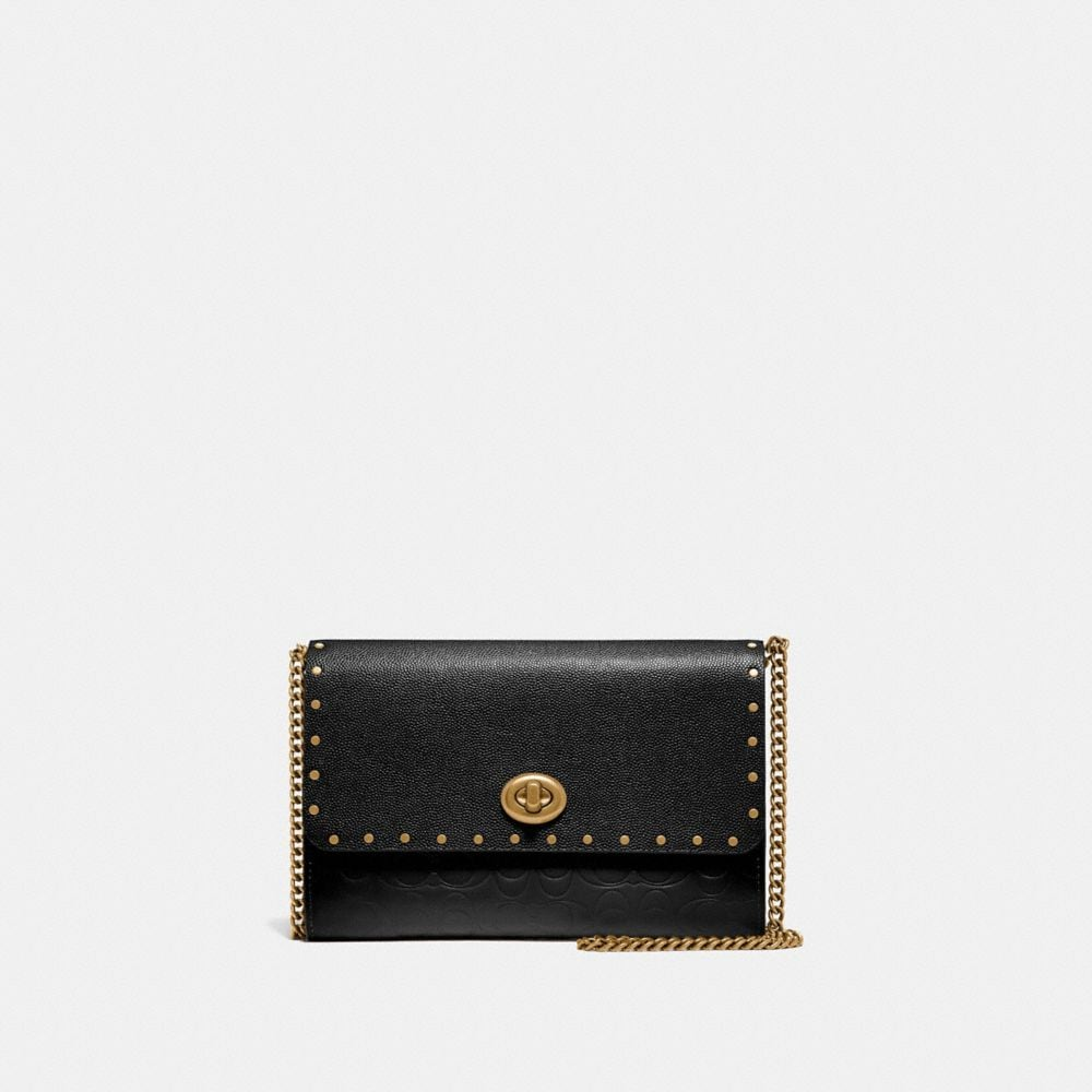 MARLOW TURNLOCK CHAIN CROSSBODY IN SIGNATURE LEATHER WITH RIVETS