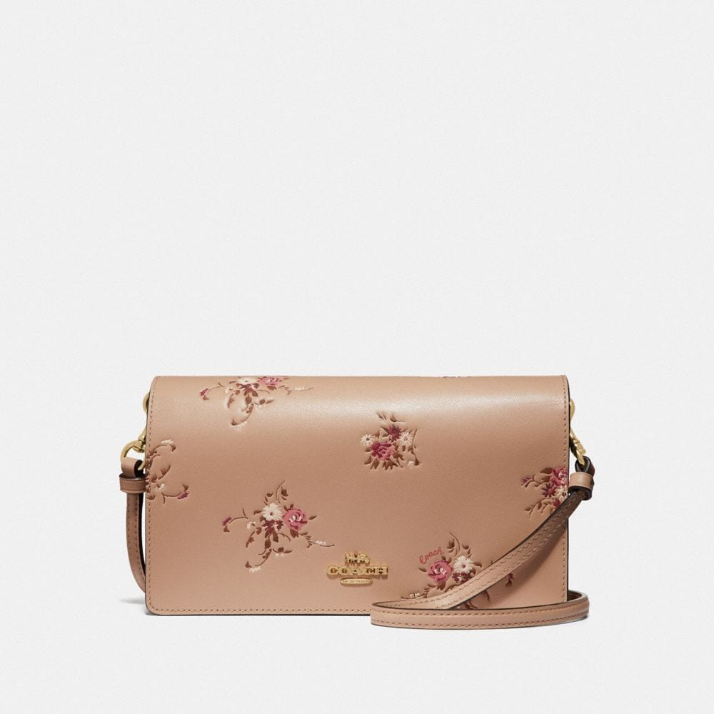 HAYDEN FOLDOVER CROSSBODY CLUTCH WITH FLORAL PRINT