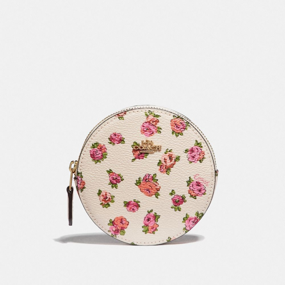 MONEDERO REDONDO CON ESTAMPADO MINI VINTAGE ROSE