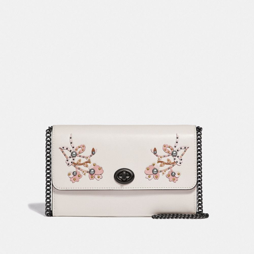 MARLOW TURNLOCK CHAIN CROSSBODY WITH FLORAL EMBROIDERY