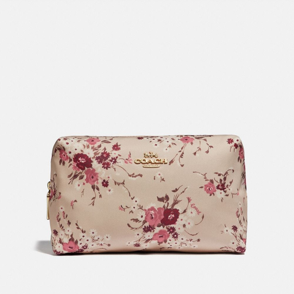 LARGE BOXY COSMETIC CASE WITH FLORAL BUNDLE PRINT