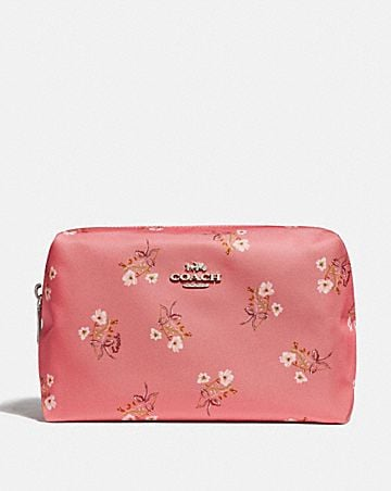 LARGE BOXY COSMETIC CASE WITH FLORAL BOW PRINT