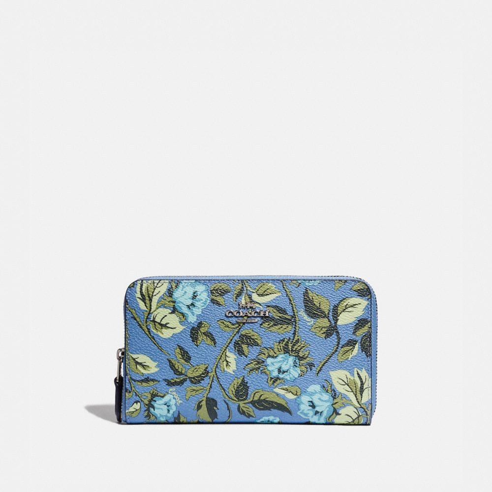 MEDIUM ZIP AROUND WALLET WITH SLEEPING ROSE PRINT