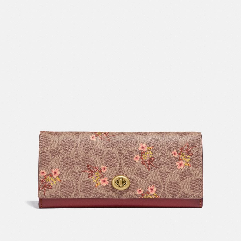 ENVELOPE WALLET IN SIGNATURE CANVAS WITH FLORAL BOW PRINT