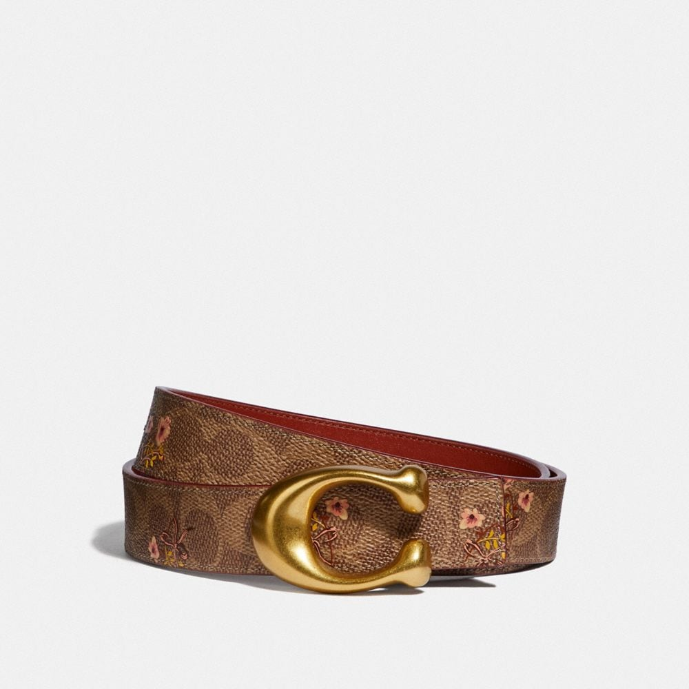SCULPTED SIGNATURE BELT IN FLORAL SIGNATURE CANVAS