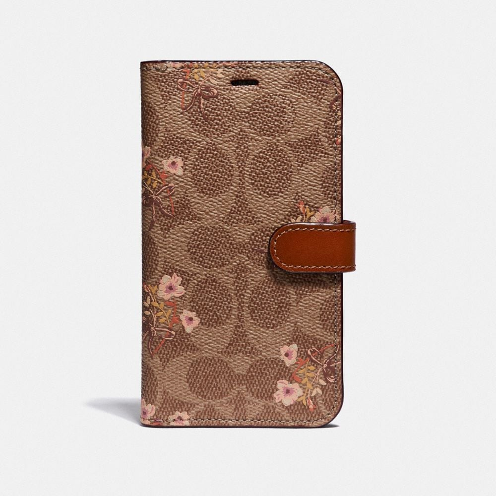 IPHONE X/XS FOLIO IN SIGNATURE CANVAS WITH FLORAL BOW PRINT