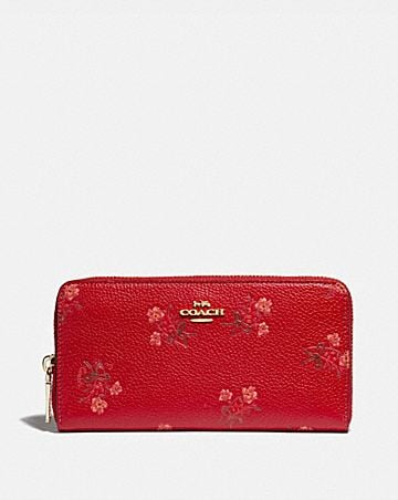 LUNAR NEW YEAR ACCORDION ZIP WALLET WITH FLORAL BOW PRINT