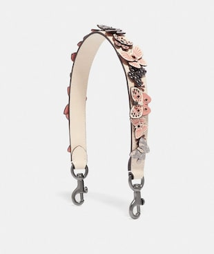 SHORT STRAP WITH BUTTERFLY APPLIQUE AND SNAKESKIN DETAIL