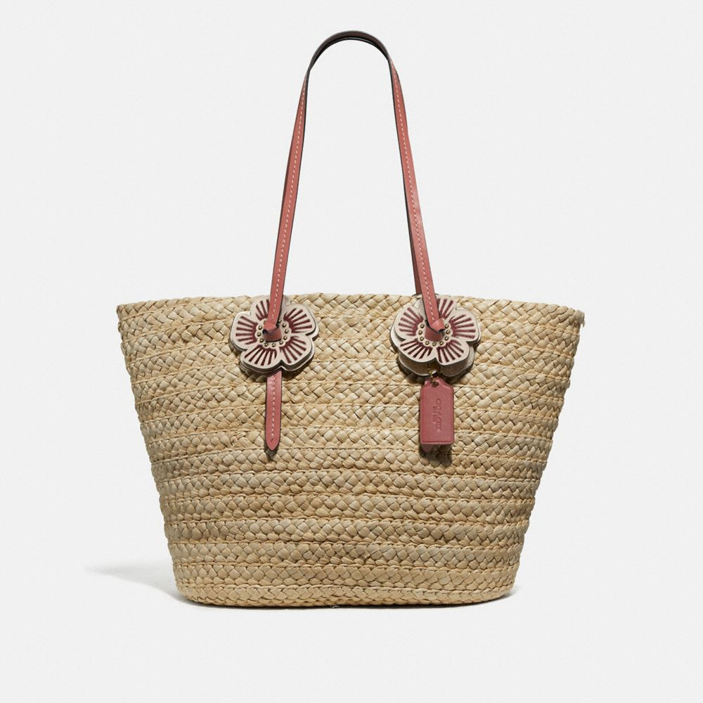 WOVEN TOTE WITH TEA ROSE