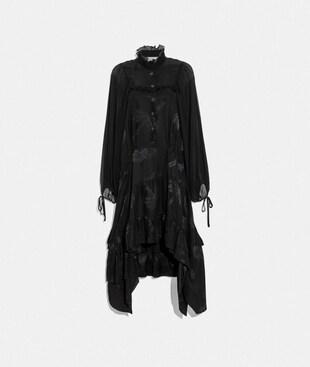 PALM TREE PRINT JACQUARD DRESS