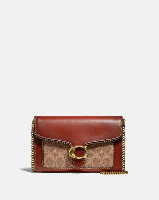 TABBY CHAIN CLUTCH IN SIGNATURE CANVAS WITH BEADCHAIN
