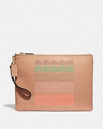 LARGE WRISTLET 30 WITH COACH PRINT
