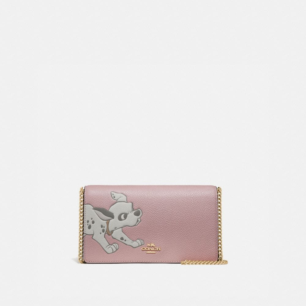 DISNEY X COACH CALLIE FOLDOVER CHAIN CLUTCH WITH DALMATIAN