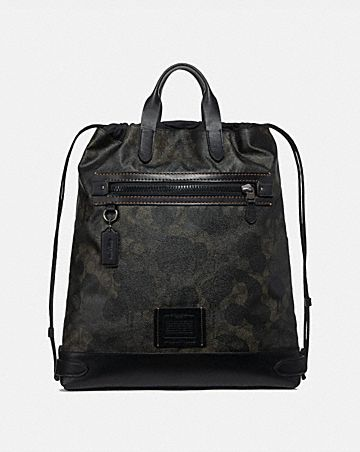 ACADEMY DRAWSTRING BACKPACK IN SIGNATURE CANVAS WITH WILD BEAST PRINT