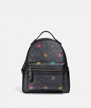 CAMPUS BACKPACK IN SIGNATURE CANVAS WITH STAR APPLIQUE AND SNAKESKIN DETAIL