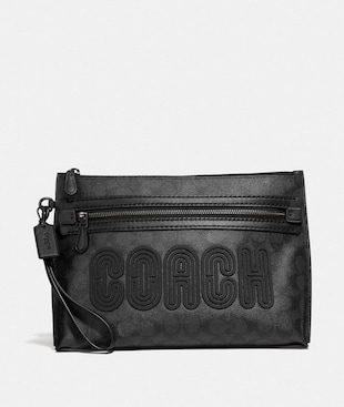 ACADEMY POUCH IN SIGNATURE CANVAS WITH COACH PRINT