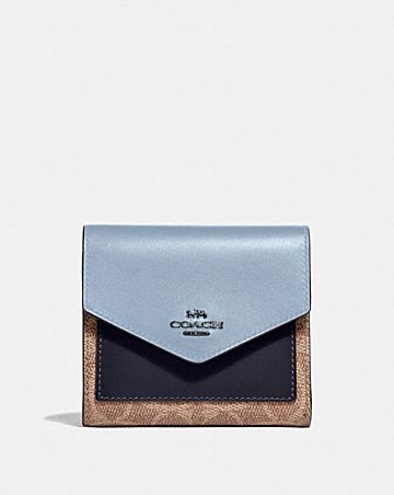 SMALL WALLET IN COLORBLOCK SIGNATURE CANVAS