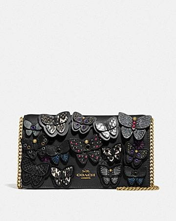 CALLIE FOLDOVER CHAIN CLUTCH WITH BUTTERFLY APPLIQUE
