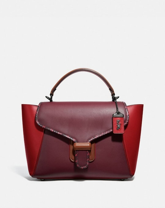 COURIER CARRYALL IN COLORBLOCK LEATHER WITH SNAKESKIN DETAIL