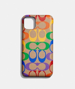IPHONE 11 PRO MAX CASE IN RAINBOW SIGNATURE CANVAS
