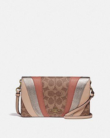 HAYDEN FOLDOVER CROSSBODY CLUTCH IN SIGNATURE CANVAS WITH WAVE PATCHWORK
