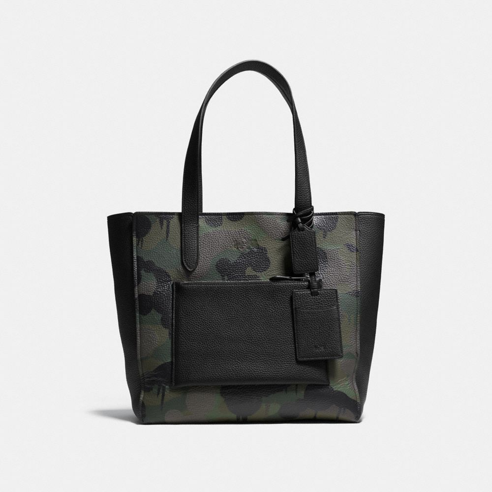 MANHATTAN TOTE IN MILITARY WILD BEAST PRINT LEATHER