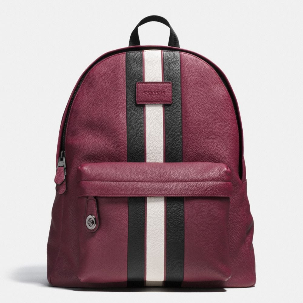 CAMPUS BACKPACK IN PEBBLE LEATHER WITH VARSITY STRIPE