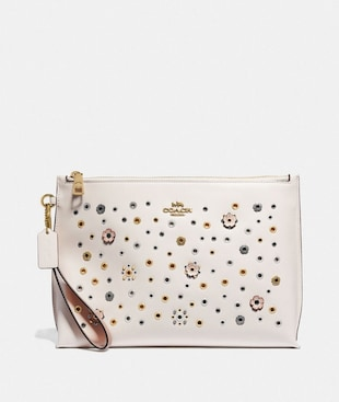 LARGE CHARLIE POUCH WITH SCATTERED RIVETS