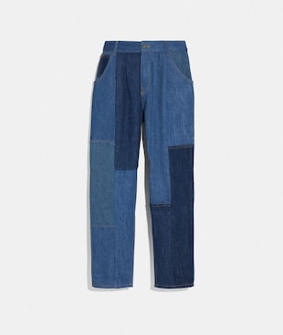 FALTENHOSE AUS DENIM-PATCHWORK