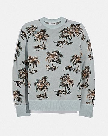 PALM TREE PRINT JACQUARD SWEATER