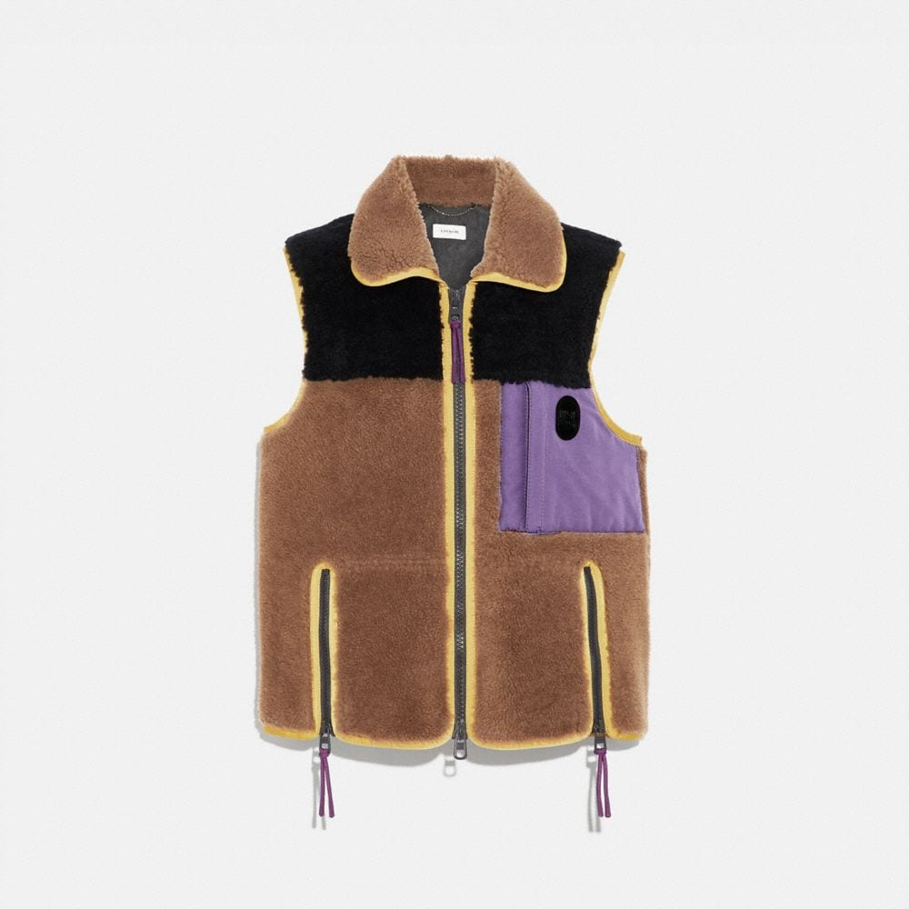 COLORBLOCK SHEARLING VEST