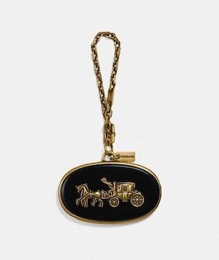 HORSE AND CARRIAGE PLAQUE BAG CHARM