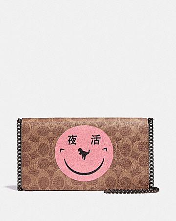 CALLIE FOLDOVER CHAIN CLUTCH IN SIGNATURE CANVAS WITH REXY BY YETI OUT