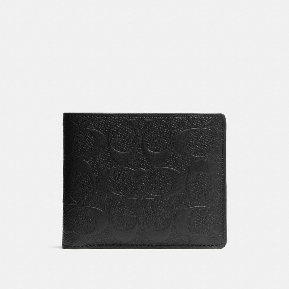 COMPACT ID WALLET IN SIGNATURE CROSSGRAIN LEATHER
