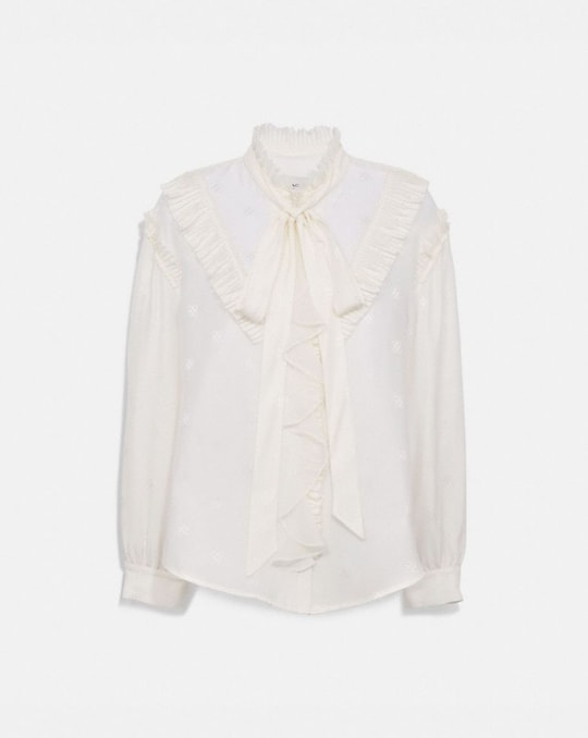 SQUARE SIGNATURE JACQUARD LONG SLEEVE PRAIRIE TOP WITH RUFFLES