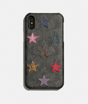 IPHONE XR CASE IN SIGNATURE CANVAS WITH STAR PRINT AND SNAKESKIN DETAIL