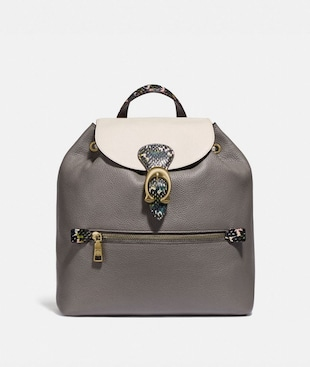 EVIE BACKPACK IN COLORBLOCK WITH SNAKESKIN DETAIL