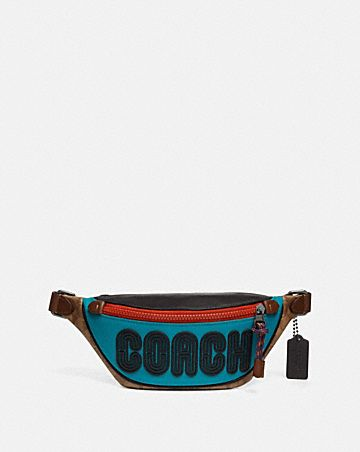 RIVINGTON BELT BAG 7 WITH SIGNATURE CANVAS BLOCKING AND COACH PRINT