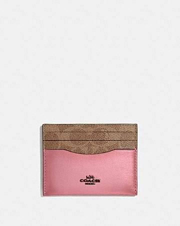 CARD CASE IN COLORBLOCK SIGNATURE CANVAS