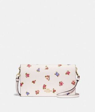 HAYDEN FOLDOVER CROSSBODY CLUTCH WITH VINTAGE ROSEBUD PRINT