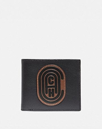 DOUBLE BILLFOLD WALLET WITH SIGNATURE CANVAS BLOCKING AND COACH PATCH
